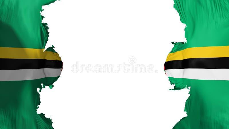 Vernietigde Dominica vlag stock illustratie