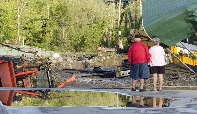 Vernietiging in Berlijn Vermont: Orkaan Irene stock afbeelding