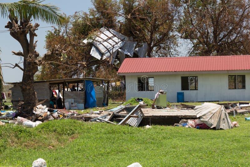 Vernietiging door tropische cycloon Winston wordt veroorzaakt die stock foto's