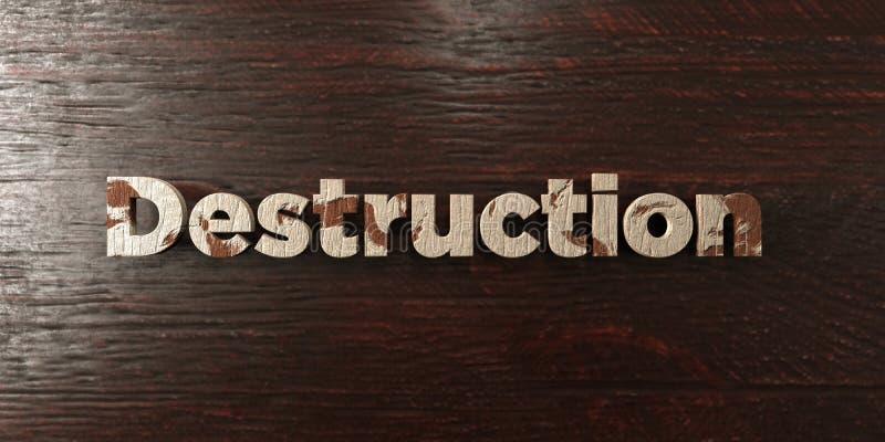 Vernietiging - grungy houten krantekop op Esdoorn - 3D teruggegeven royalty vrij voorraadbeeld vector illustratie