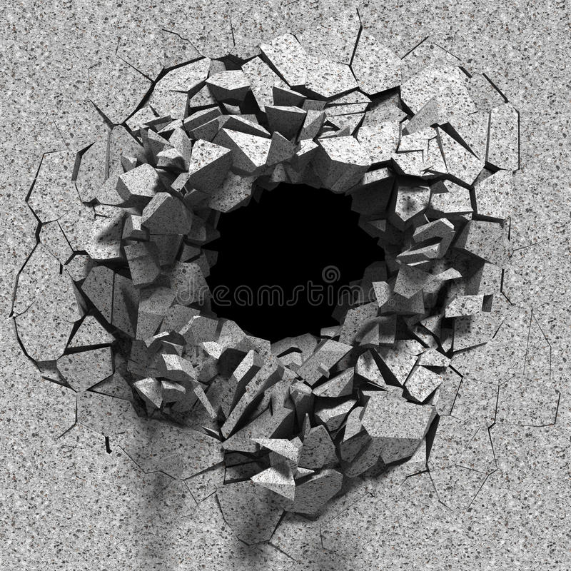 Vernietiging van concrete oude muur met het gat van de explosievernieling stock illustratie