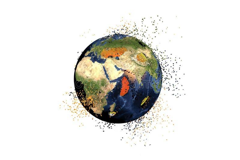 Vernietiging van de Aarde Mondiale problemenconcept stock illustratie
