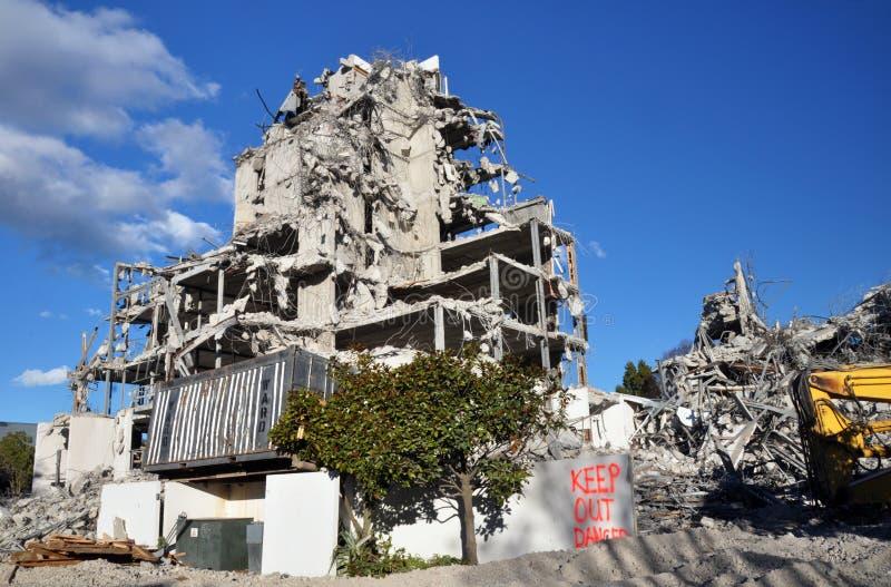 Vernietiging van Terras op het Park, Christchurch royalty-vrije stock foto