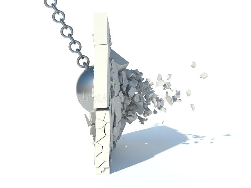 Vernietigingsmuur stock illustratie