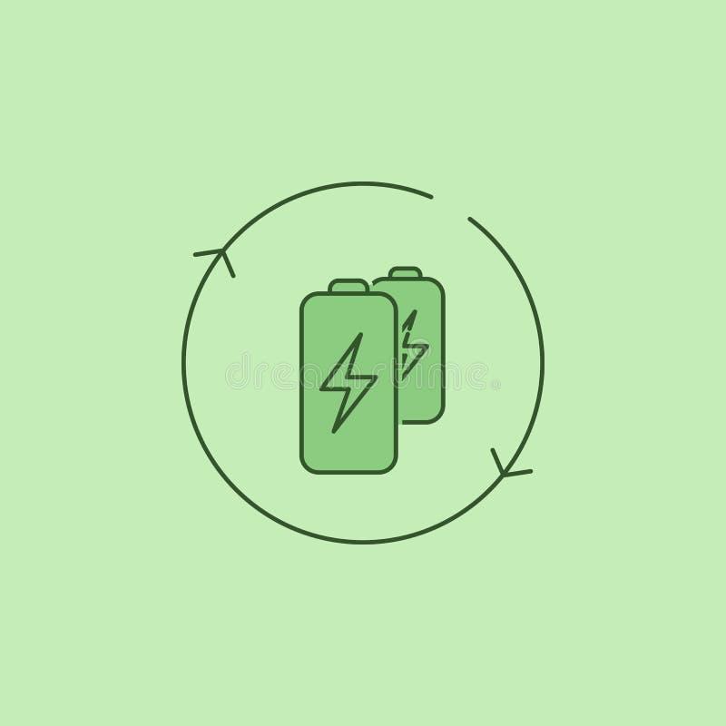 vernieuwbaar Batterijpictogram royalty-vrije illustratie