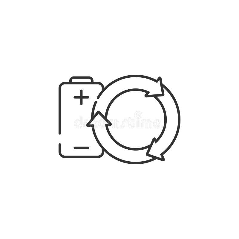 vernieuwbaar Batterijpictogram Eenvoudige elementenillustratie Het vernieuwbare ontwerp van het batterijsymbool van de reeks van  royalty-vrije illustratie