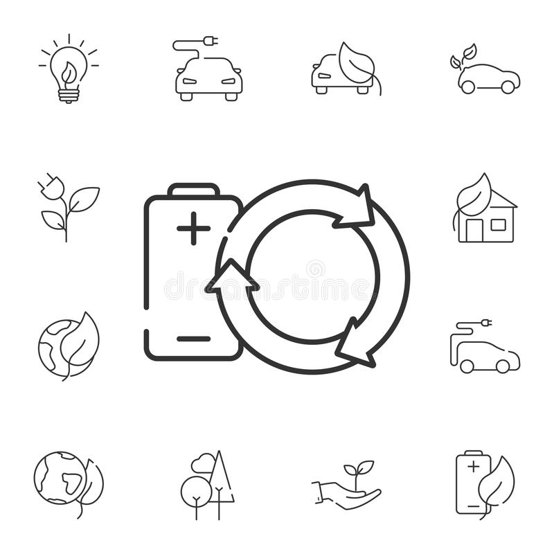 vernieuwbaar Batterijpictogram Eenvoudige elementenillustratie Het vernieuwbare ontwerp van het batterijsymbool van de reeks van  vector illustratie