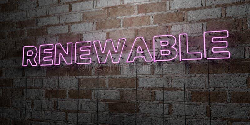 VERNIEUWBAAR - Gloeiend Neonteken op metselwerkmuur - 3D teruggegeven royalty vrije voorraadillustratie vector illustratie