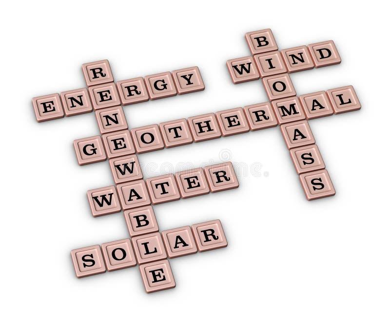 Vernieuwbaar Groen Energiekruiswoordraadsel stock illustratie