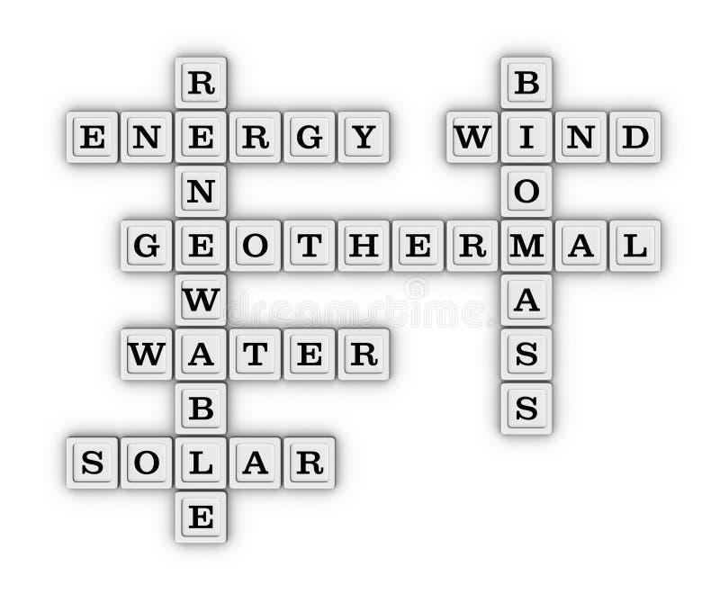Vernieuwbaar Groen Energiekruiswoordraadsel vector illustratie