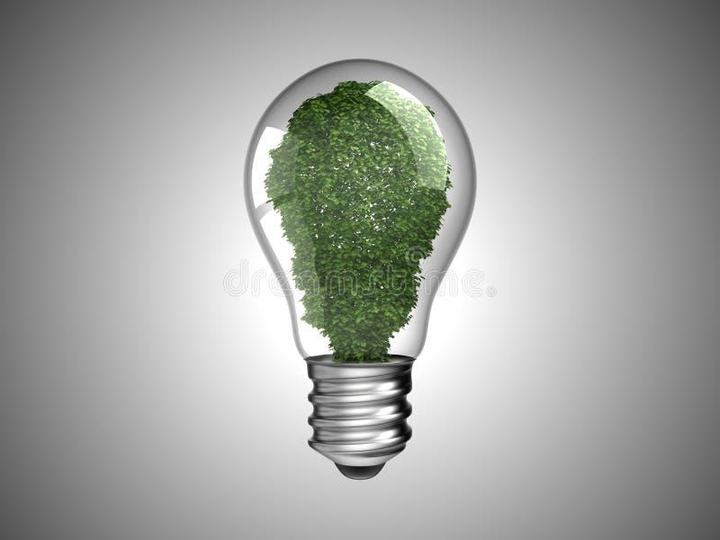 Vernieuwbare energie. Lightbulb met groene installatie stock illustratie