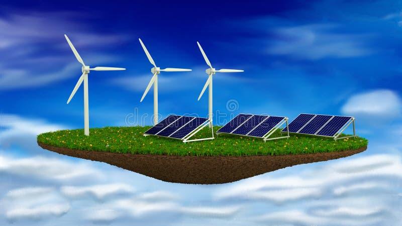 Vernieuwbare windgenerators en zonnepanelen - royalty-vrije stock foto