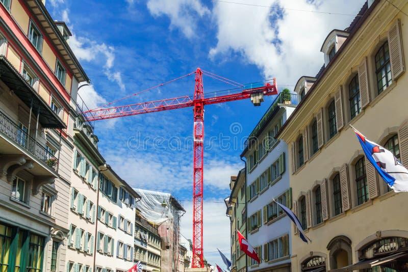 Vernieuwing van oude gebouwen in de stad centr van Zürich royalty-vrije stock afbeeldingen