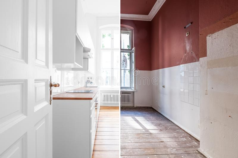 Vernieuwingsconcept - keukenruimte before and after heropfrissing of restauratie stock afbeelding