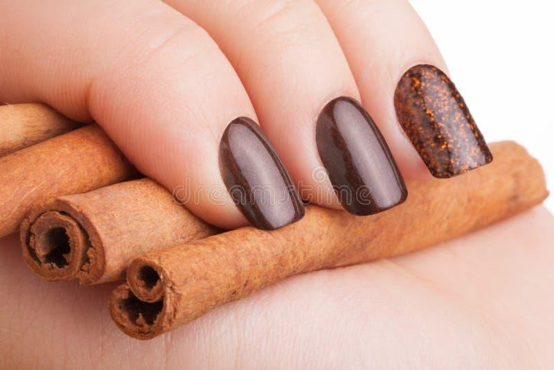 Vernis à ongles de Brown sur les ongles image libre de droits