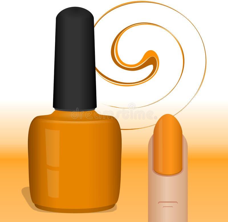 Vernis à ongles orange image libre de droits