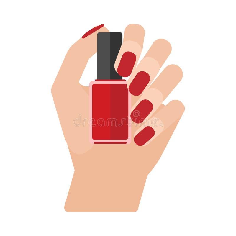 Verniz para as unhas do tratamento de mãos ilustração do vetor