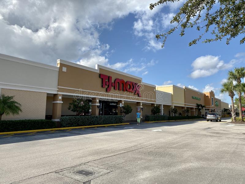 Vero Beach,FL/USA-10/28/19: The exterior of a TJ Maxx discount clothing and accessories retail store. Vero Beach, FL/USA-10/28/19: The exterior of a TJ Maxx stock photos