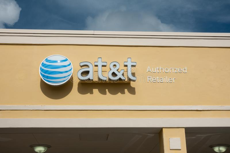 AT&T retail storefront in a shopping center. Vero Beach, FL/USA - 8/2/19 - AT&T Corporation is an American telecommunications company that provides internet royalty free stock photo