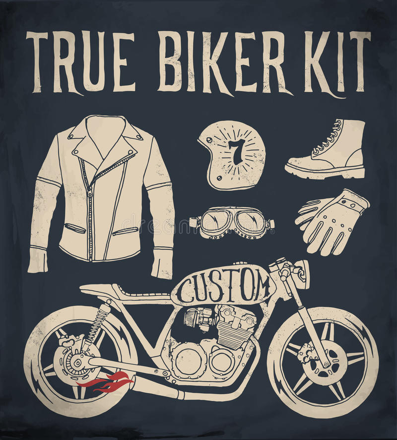 Vero corredo del motociclista illustrazione di stock