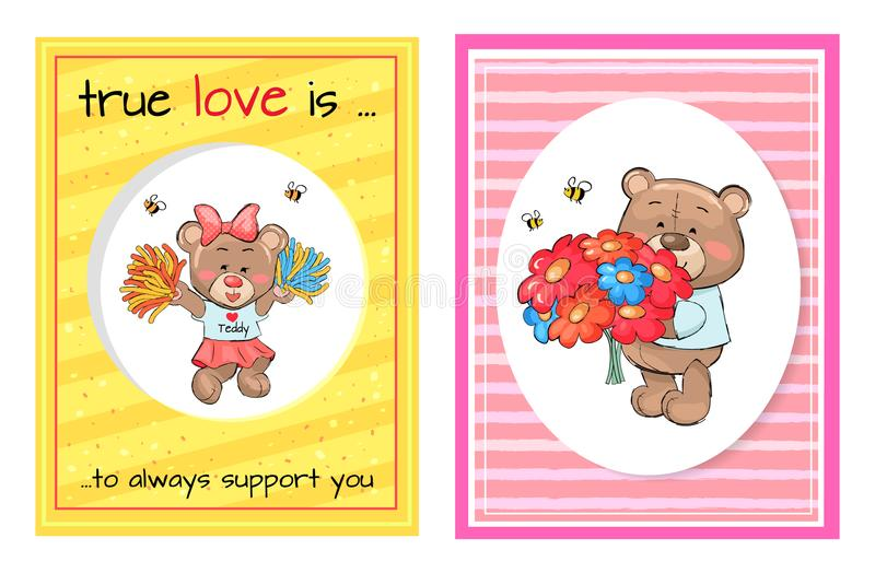 Vero di amore supporto Teddy Cheerleader Bouquet sempre royalty illustrazione gratis