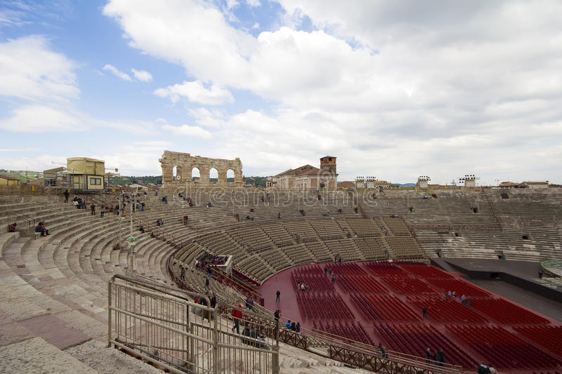 Verona Arena (Arena di Verona) Italy. Inside the Arena di Verona the second largest roman amphitheater in the world royalty free stock image