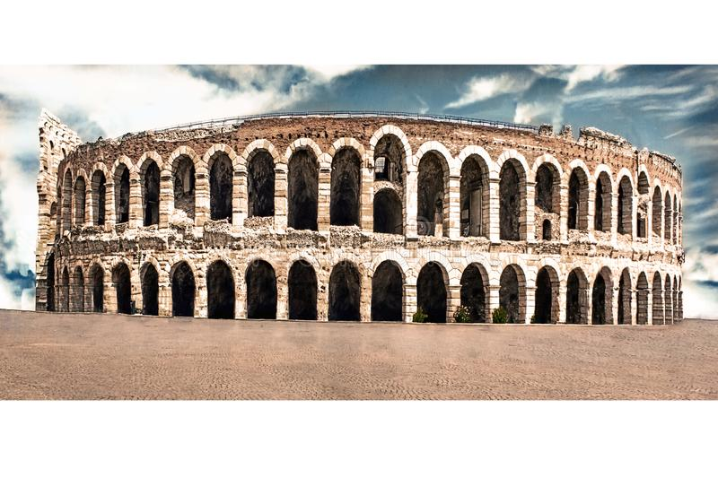 Verona Arena, cleaned of people and houses. The Verona Arena is a Roman amphitheater located in the historic center of Verona, an royalty free stock image