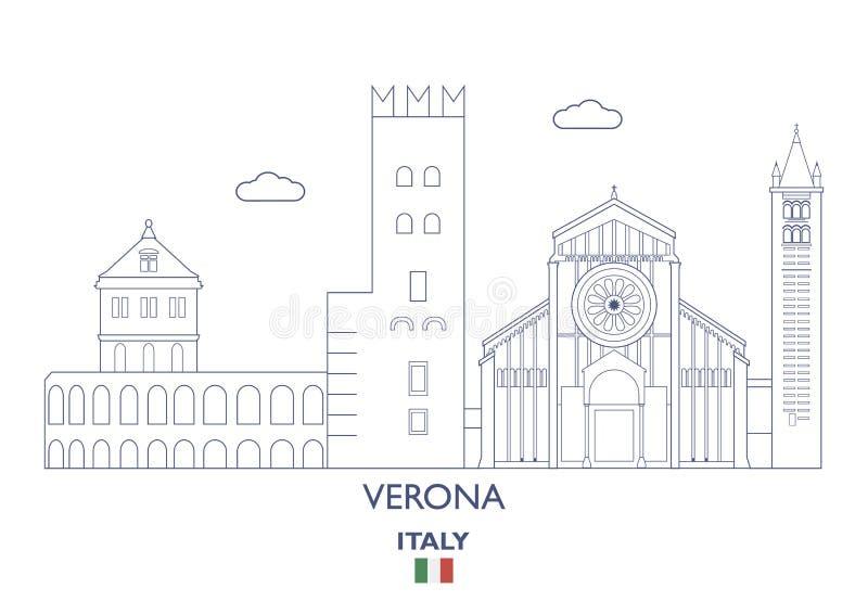 Verona City Skyline, Italien lizenzfreie abbildung