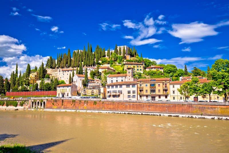 Verona cityscape from Adige river bridge view. Veneto region of Italy royalty free stock image