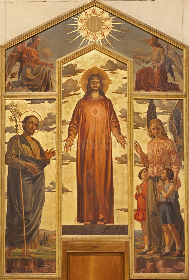 Verona - coração da pintura de Christ na basílica San Zeno fotografia de stock