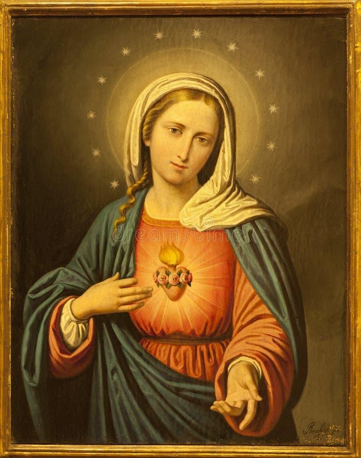 Verona - coração da Virgem Maria. Pintura da igreja de San Lorenzo da igreja fotos de stock