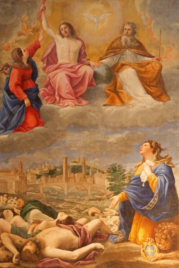 Verona - farba dżuma w Verona w roku 1630 Antonio Giarola obraz stock