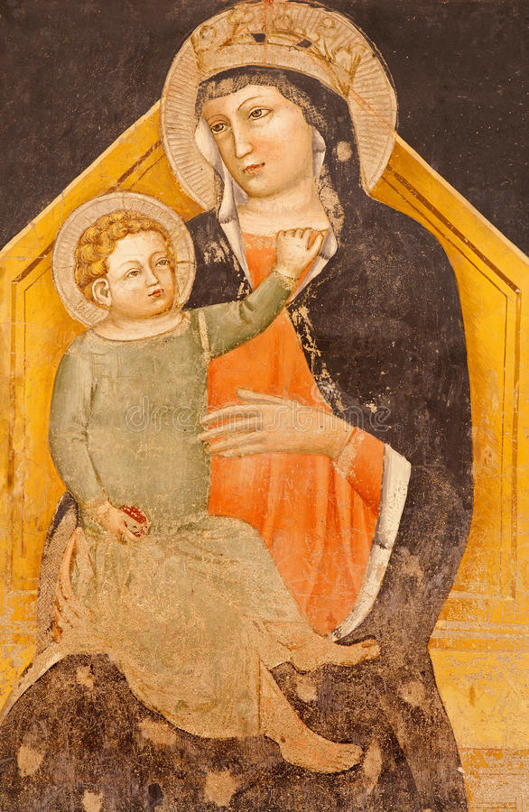 Verona - fresco de Madonna com a criança na basílica San Zeno na basílica San Zeno fotos de stock royalty free
