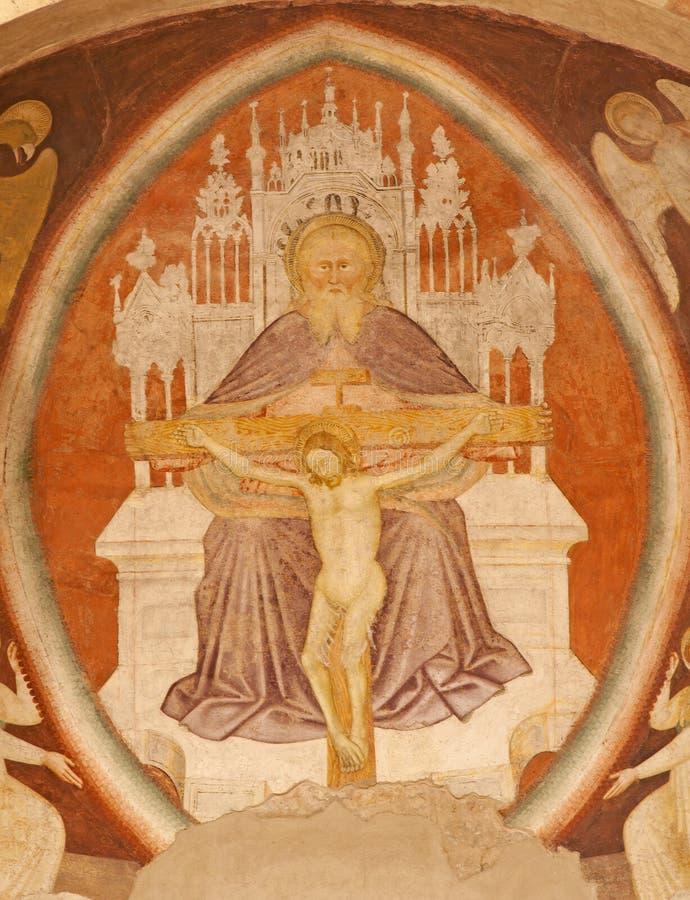 Verona - fresk święta trójca od głównej apsydy Chiesa Di Santissima Trinita zdjęcia royalty free