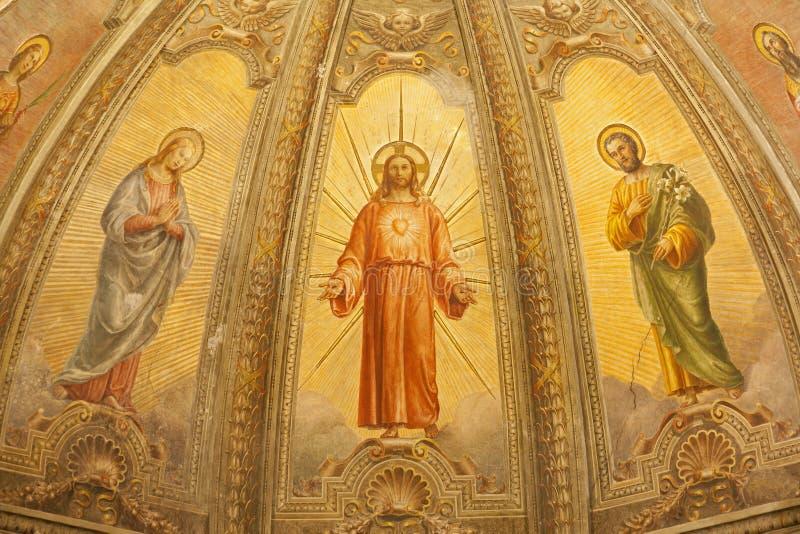 Verona - fresk Wskrzeczam Jezus od głównej apsydy kościelny Santa Eufemia obraz stock