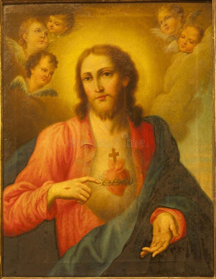 Verona - Hart van Jesus Christ. Verf van kerk San Lorenz stock afbeelding