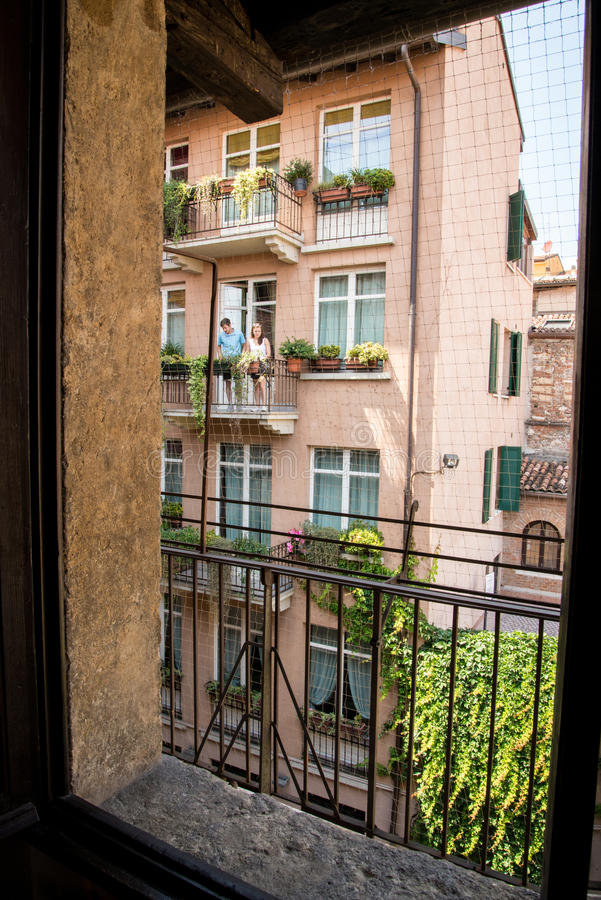 Verona house of Juliet. The city of love in Italy. Famous because of the drama Romeo and Juliet of William Shakespeare. Except the house of Juliet - la casa di stock photo