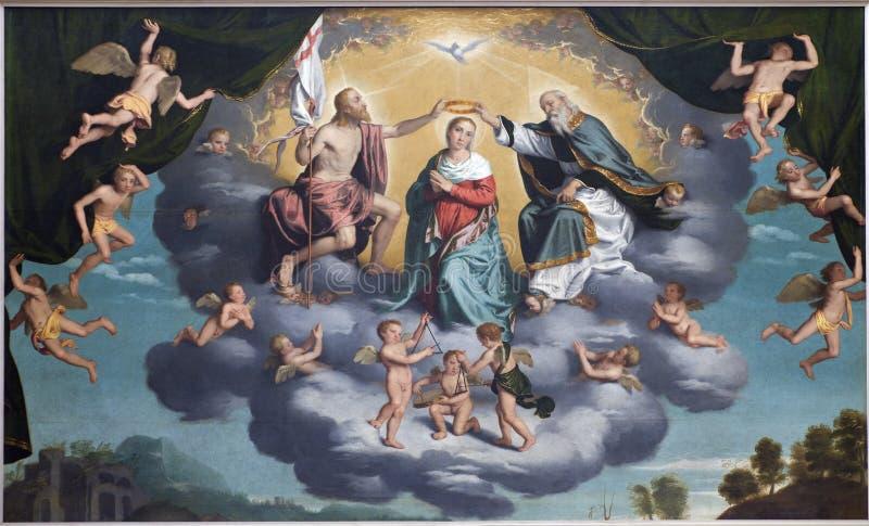 Verona - Incoronazione della Vergine - Coronation of hl. Mary. By Giovani Battista Moroni (1520 - 1578) in church San Alessandro della Croce on January 27, 2013 royalty free stock photography