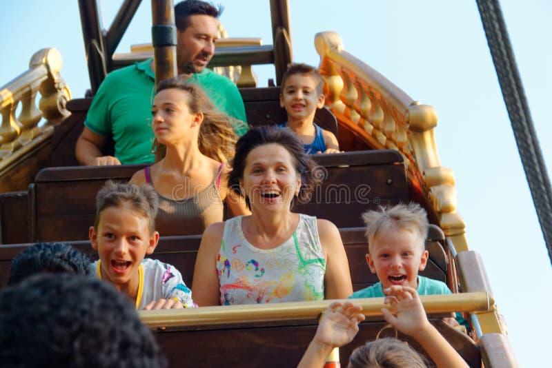 Verona, Italië 18 Augustus, 2018: Leolandpretpark Piraatschoener royalty-vrije stock fotografie