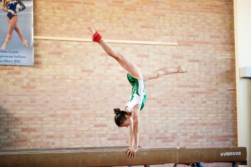 Verona, Italië - Augustus 24, 2017: Opleiding van kinderen in de gymnastieksectie royalty-vrije stock afbeelding