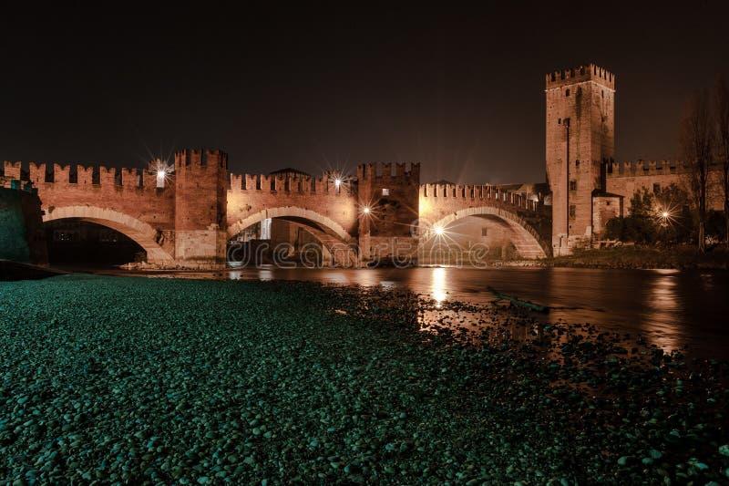 Verona, Italië, steenbrug, het oude kasteel, Panorama stock afbeeldingen