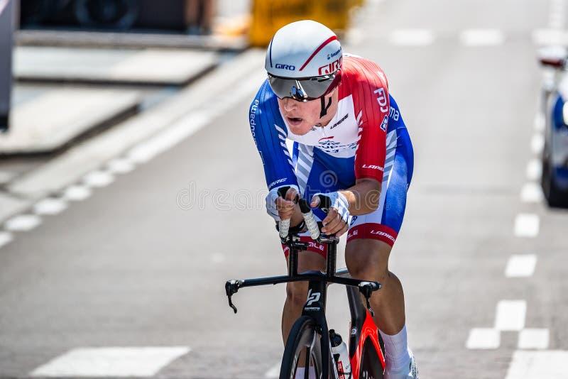 Verona, Italien, 2. Juni 2019: Profi-Radfahrer auf der Strecke der letzten Etappe des 'Giro D`Italia' stockbild