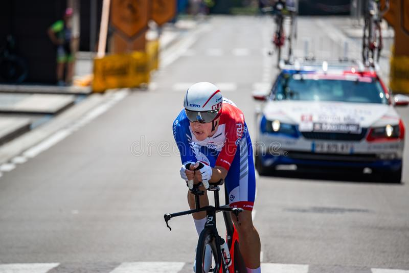 Verona, Italien, 2. Juni 2019: Profi-Radfahrer auf der Strecke der letzten Etappe des 'Giro D`Italia' stockfoto