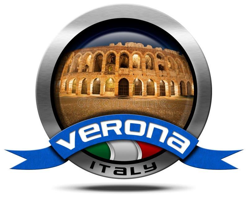 Verona Italy - ícone do metal com arena ilustração stock