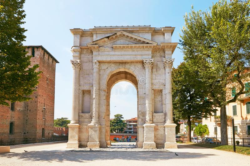 VERONA, ITALY - AUGUST 17, 2017: The Arch of Gavi is an ancient Roman triumphal arch in the city of Verona. stock photo