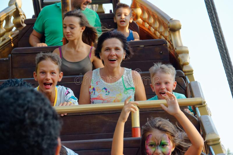 Verona, Italy August 18, 2018: Leoland amusement park. Pirate schooner. royalty free stock photo