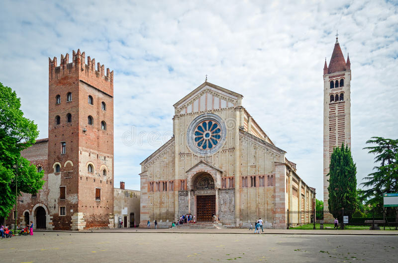 Verona (Italy), Basilica of San Zeno stock photography