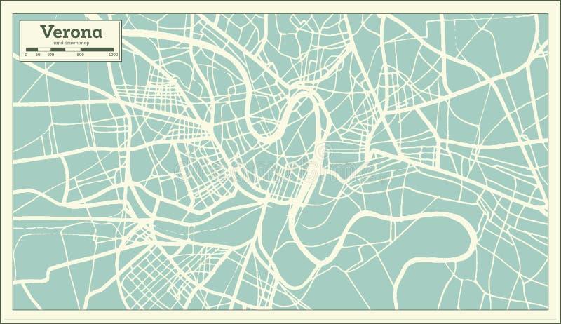 Verona Italy City Map i Retro stil stock illustrationer