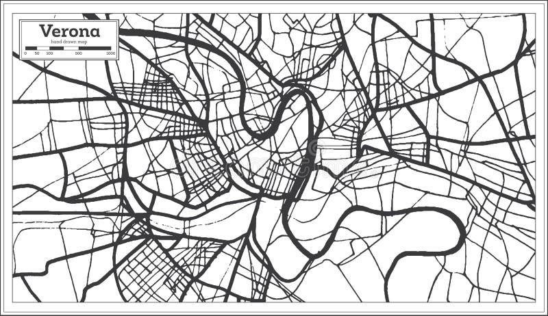 Verona Italy City Map i Retro stil skisserar kartlägger vektor illustrationer