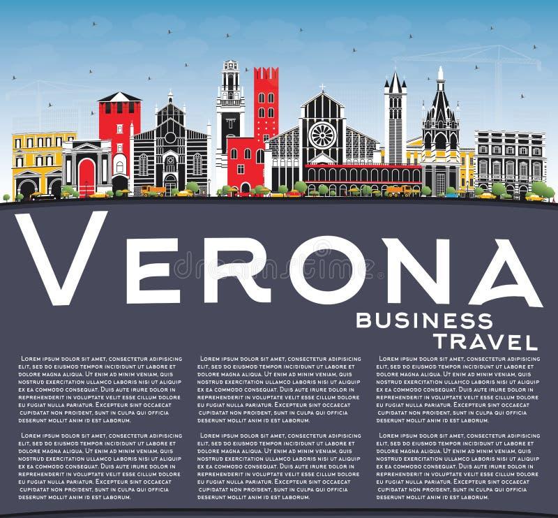 Verona Italy City Skyline med färgbyggnader, blå himmel och kopieringsutrymme stock illustrationer